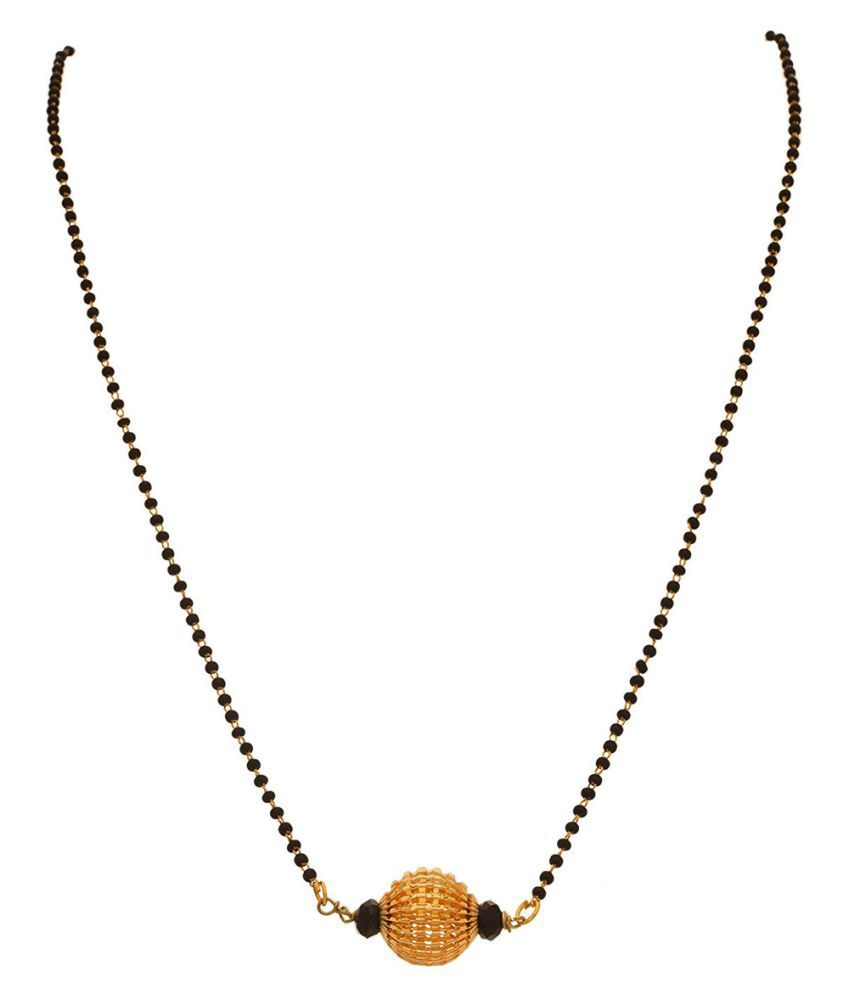 JFL -Traditional Ethnic One Gram Gold Plated Corrugated Screen Beads Designer Mangalsutra With Black Beaded Chain for Women.