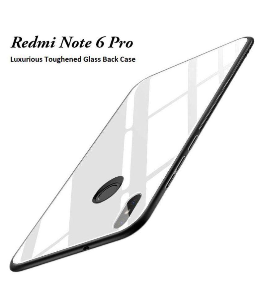 Xiaomi Redmi Note 6 Pro Plain Cases Kosher Traders - White 360°  Luxurious Toughened Glass Back Case