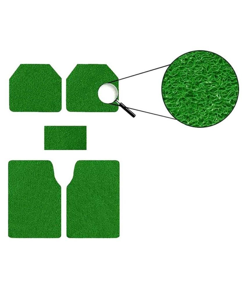 Autofetch Car Anti Slip Noodle Floor Mats (Set of 5) Green for Skoda Superb [2014-2015]