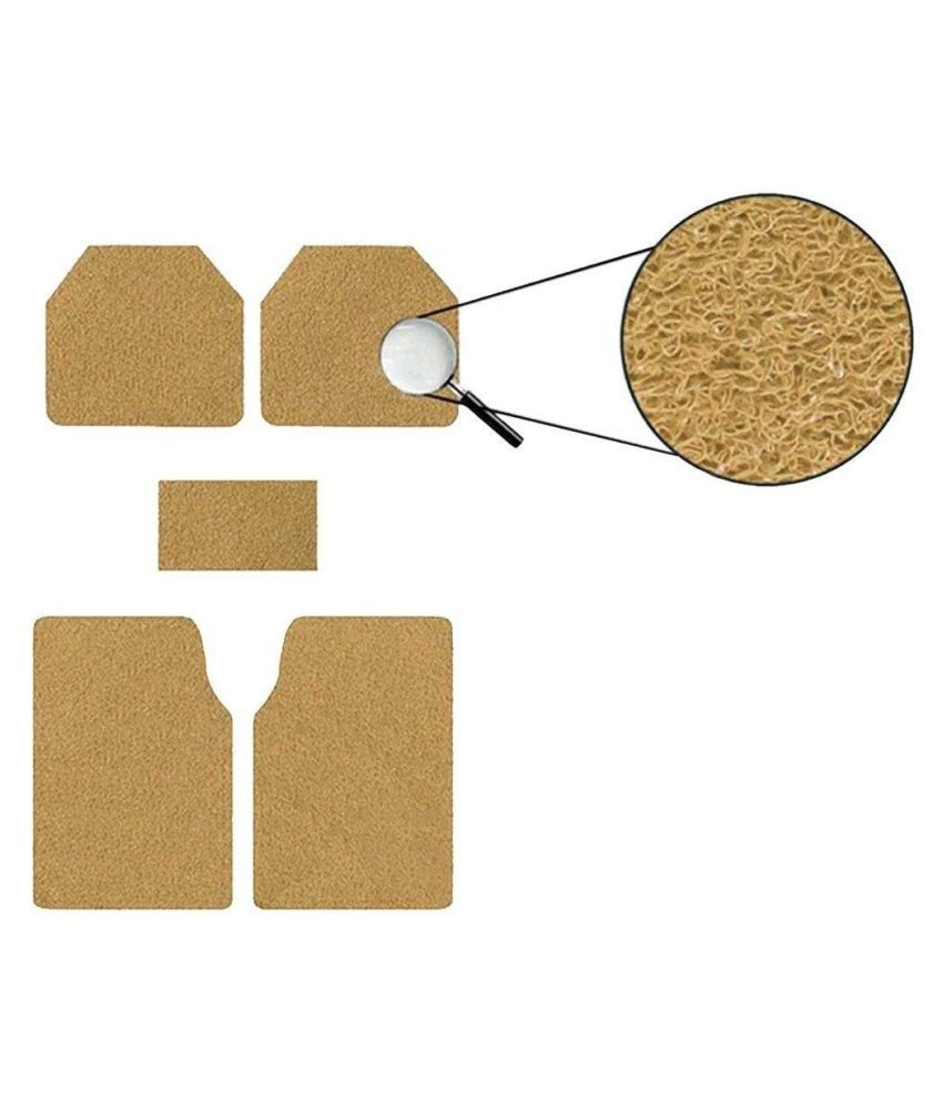 Autofetch Car Anti Slip Noodle Floor Mats (Set of 5) Beige for Maruti Suzuki Estilo [2009-2014]