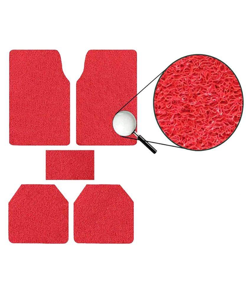 Autofetch Car Anti Slip Noodle Floor Mats (Set of 5) Red for Tata Indigo eCS [2013-2015]