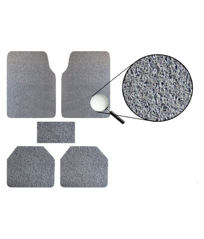 Autofetch Car Anti Slip Noodle Floor Mats (Set of 5) Grey for Renault Duster [2013-2015]