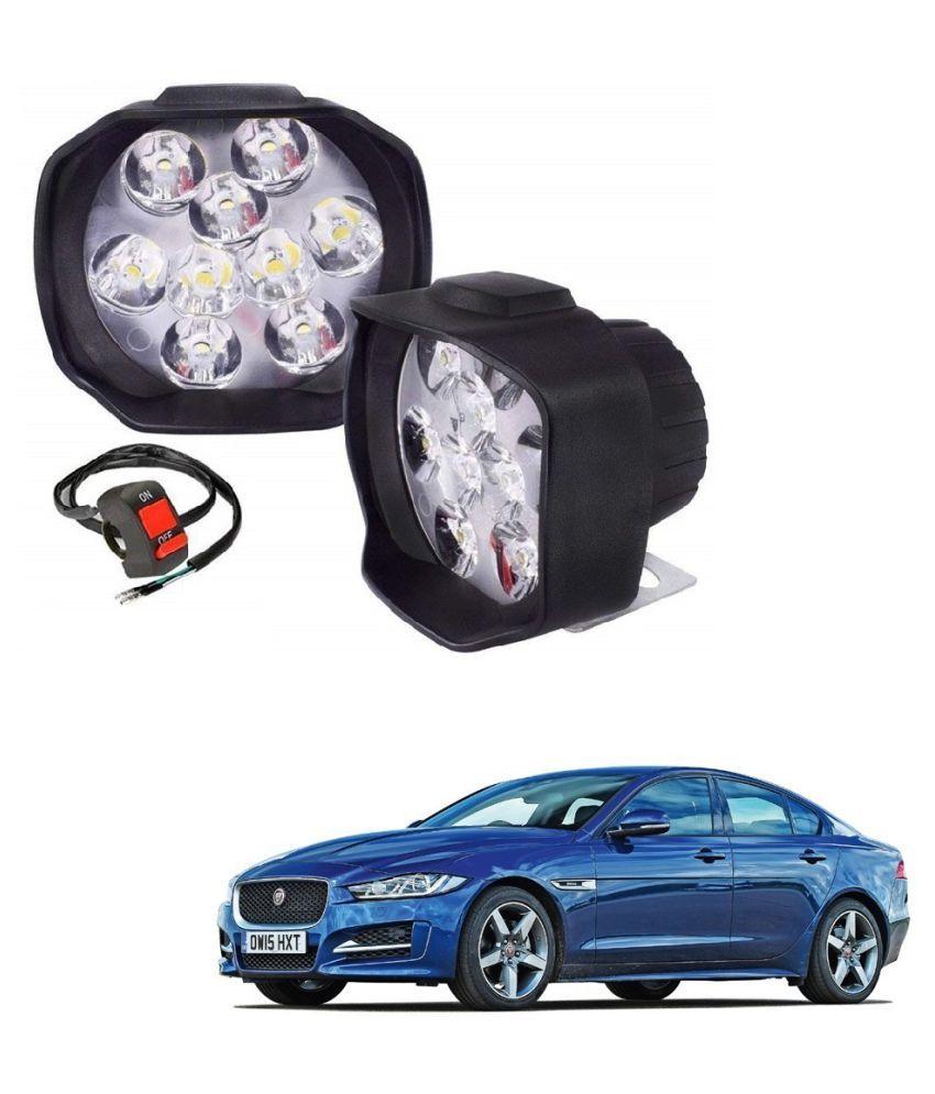 Auto Addict 9 LED 16W Anti-Fog Spot Light Auxiliary Headlight with Switch Set of 2 Pcs For Jaguar XE