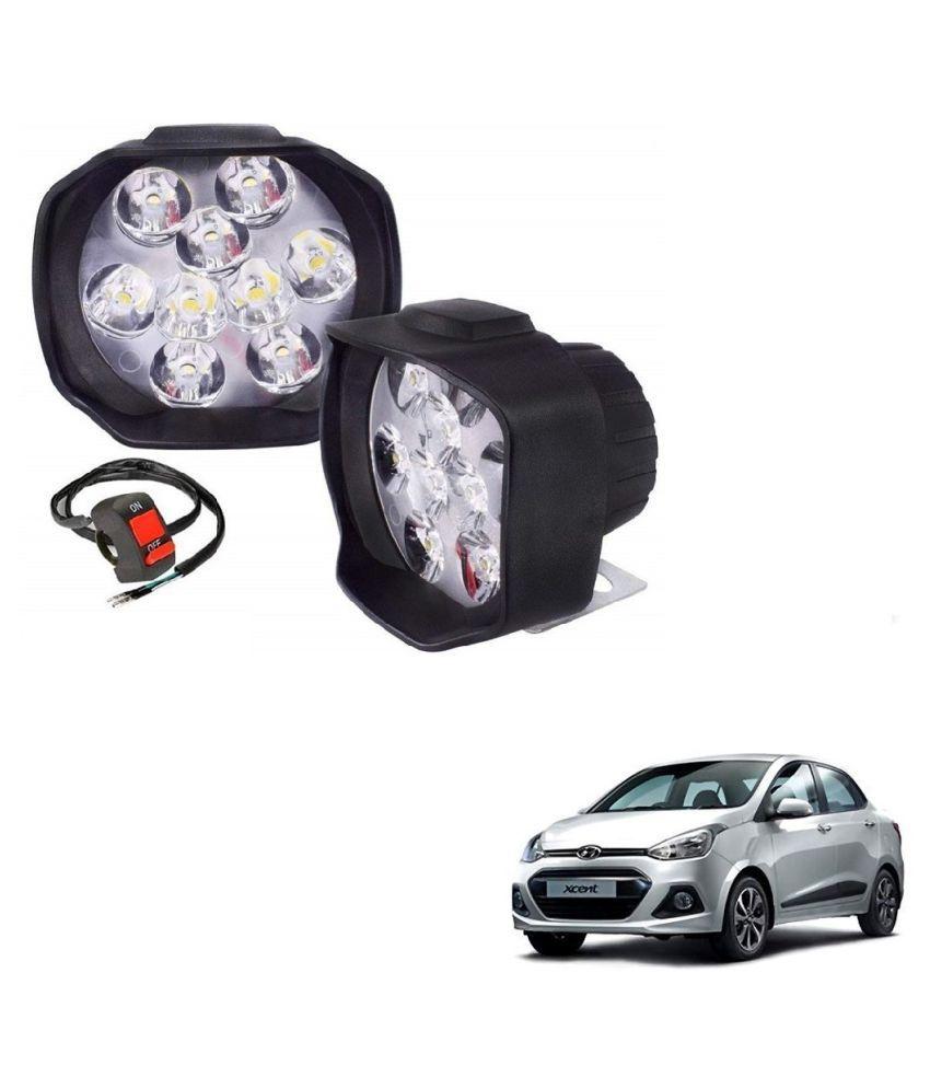 Auto Addict 9 LED 16W Anti-Fog Spot Light Auxiliary Headlight with Switch Set of 2 Pcs For Hyundai Xcent
