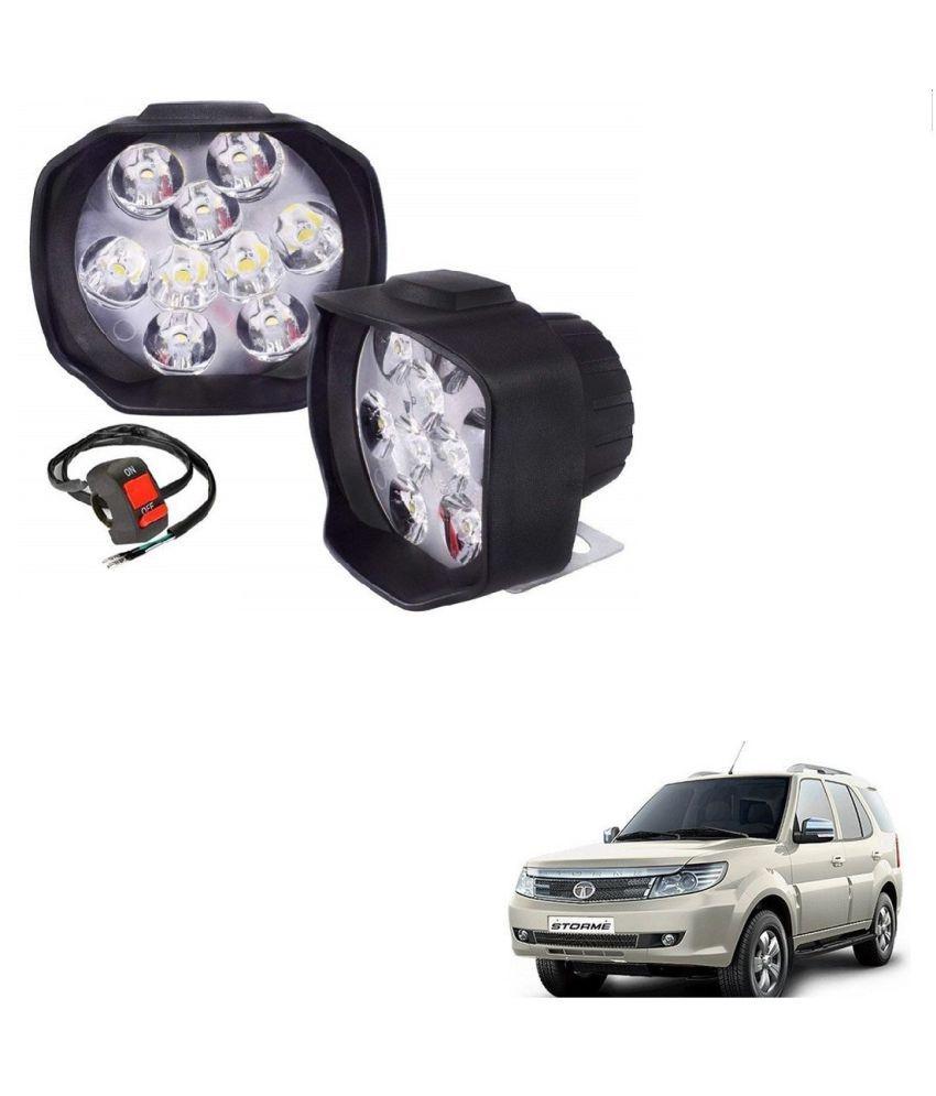 Auto Addict 9 LED 16W Anti-Fog Spot Light Auxiliary Headlight with Switch Set of 2 Pcs For Tata Safari Storme