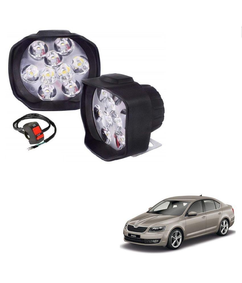 Auto Addict 9 LED 16W Anti-Fog Spot Light Auxiliary Headlight with Switch Set of 2 Pcs For Skoda New Octavia (2013-Present)