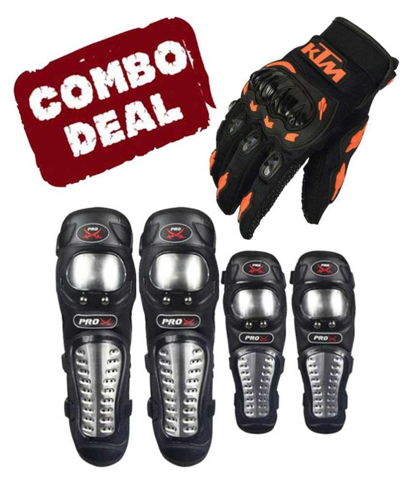Biker Protective Gear Combo of Pro X Elbow Knee Guard & KTM Gloves