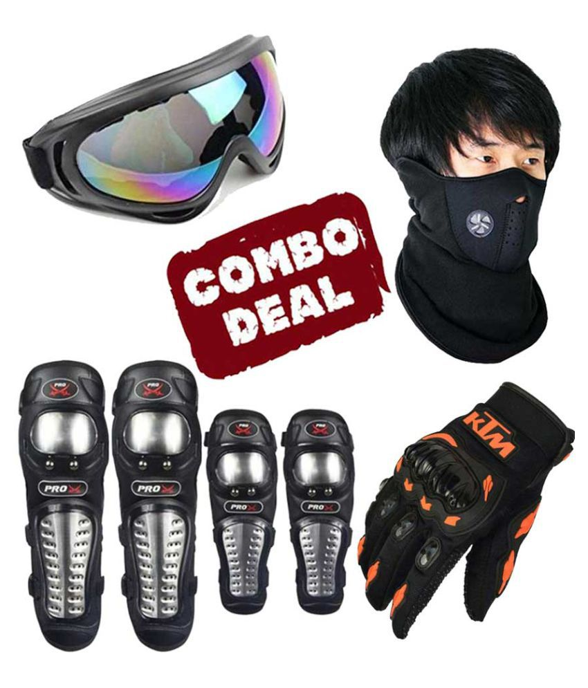 Biker Protective Gear Combo of Pro X Elbow Knee Guard Neoprene Goggle & KTM Gloves
