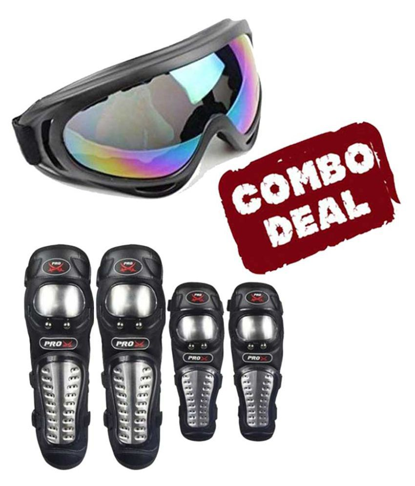 Biker Protective Gear Combo of Pro X Elbow Knee Guard & Goggle