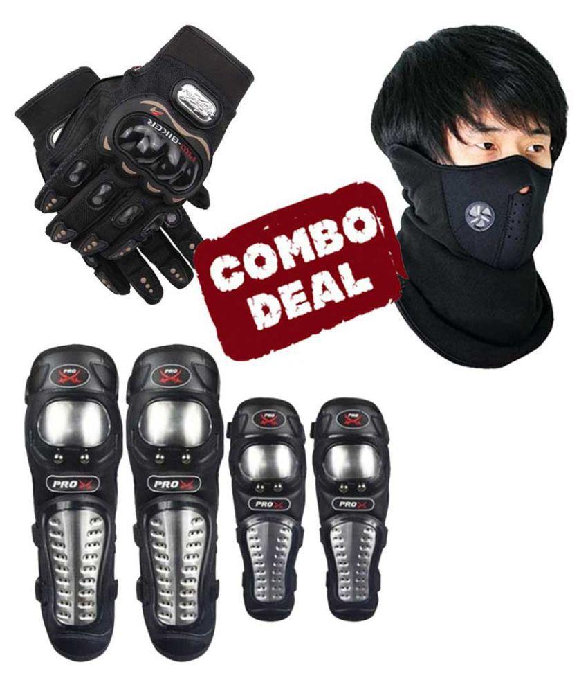 Biker Protective Gear Combo of Pro X Elbow Knee Guard Neoprene & Pro Gloves