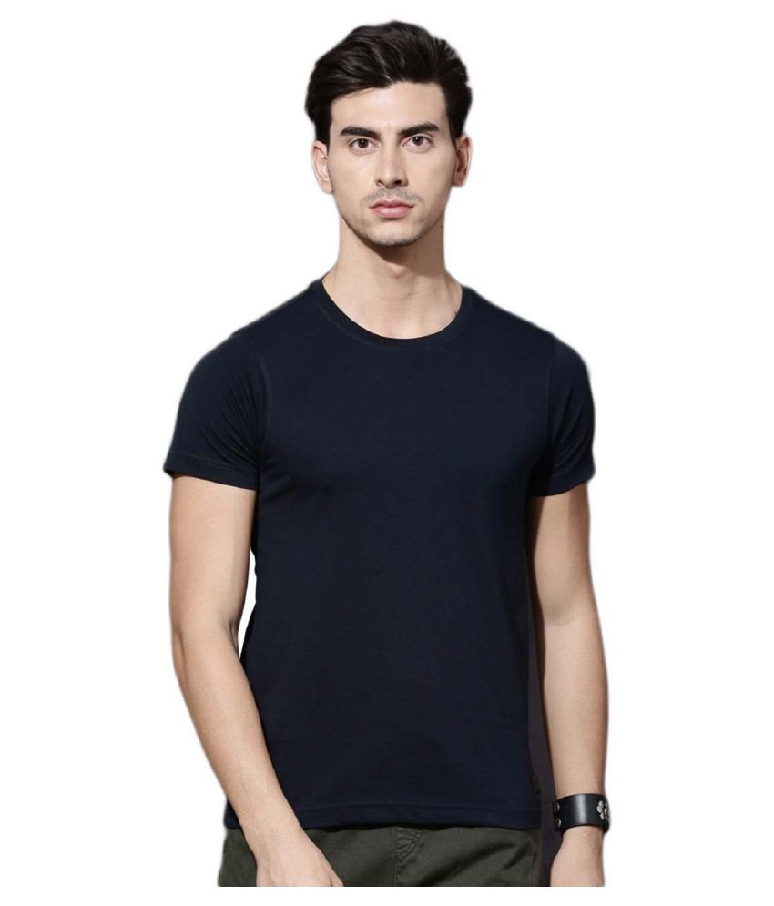 NJs Cotton Blend Navy Solids T-Shirt