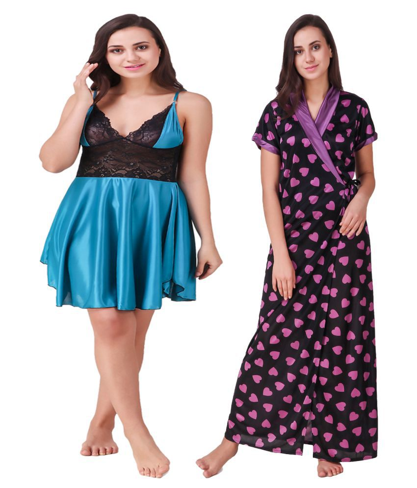 Trost Satin Baby Doll Dresses Without Panty - Purple