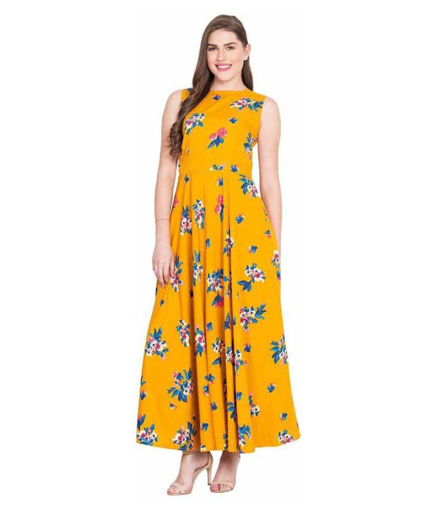 shree wow Crepe Yellow Regular Dress