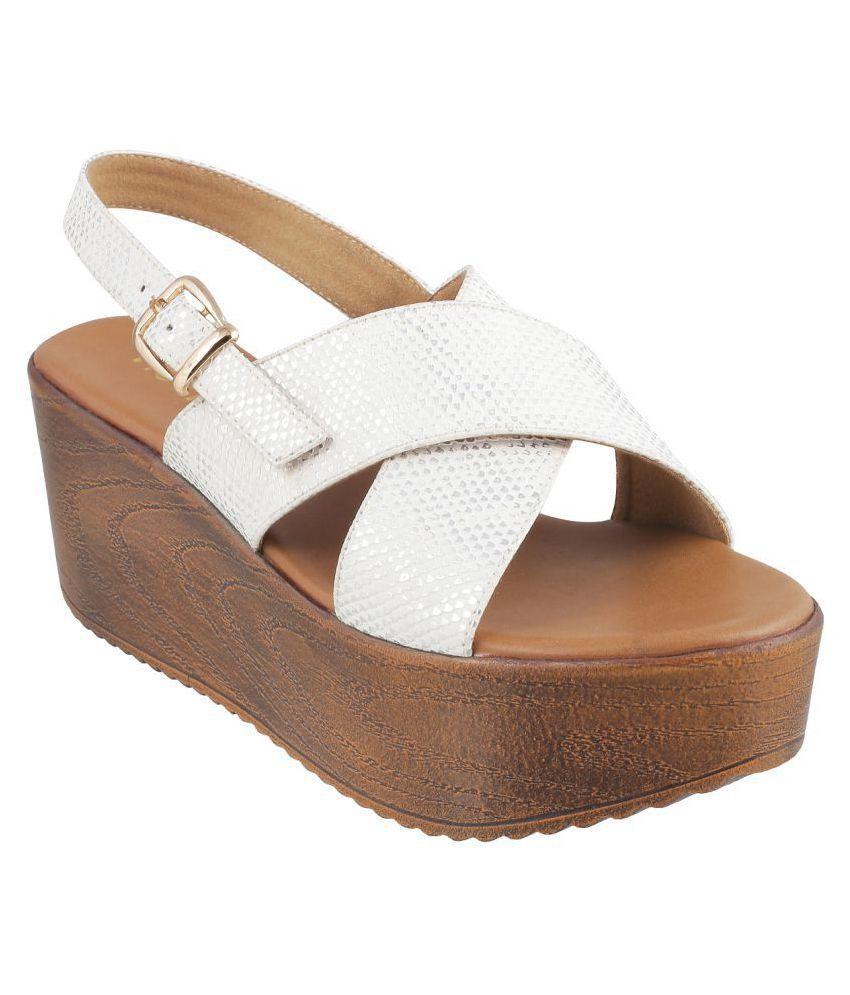 Mochi White Wedges Heels
