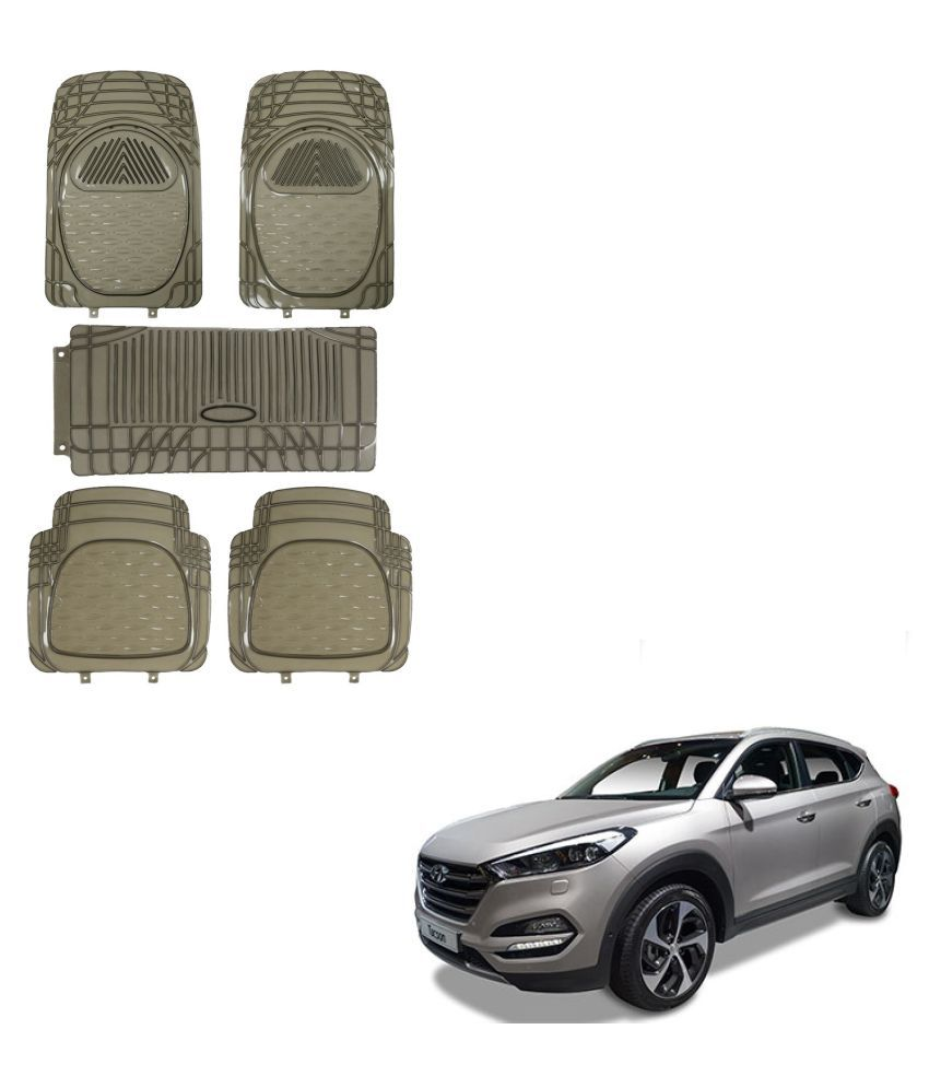 Auto Addict Car Rubber PVC 6205 Foot Mats Smoke Color Set of 5 pcs For Hyundai Tucson