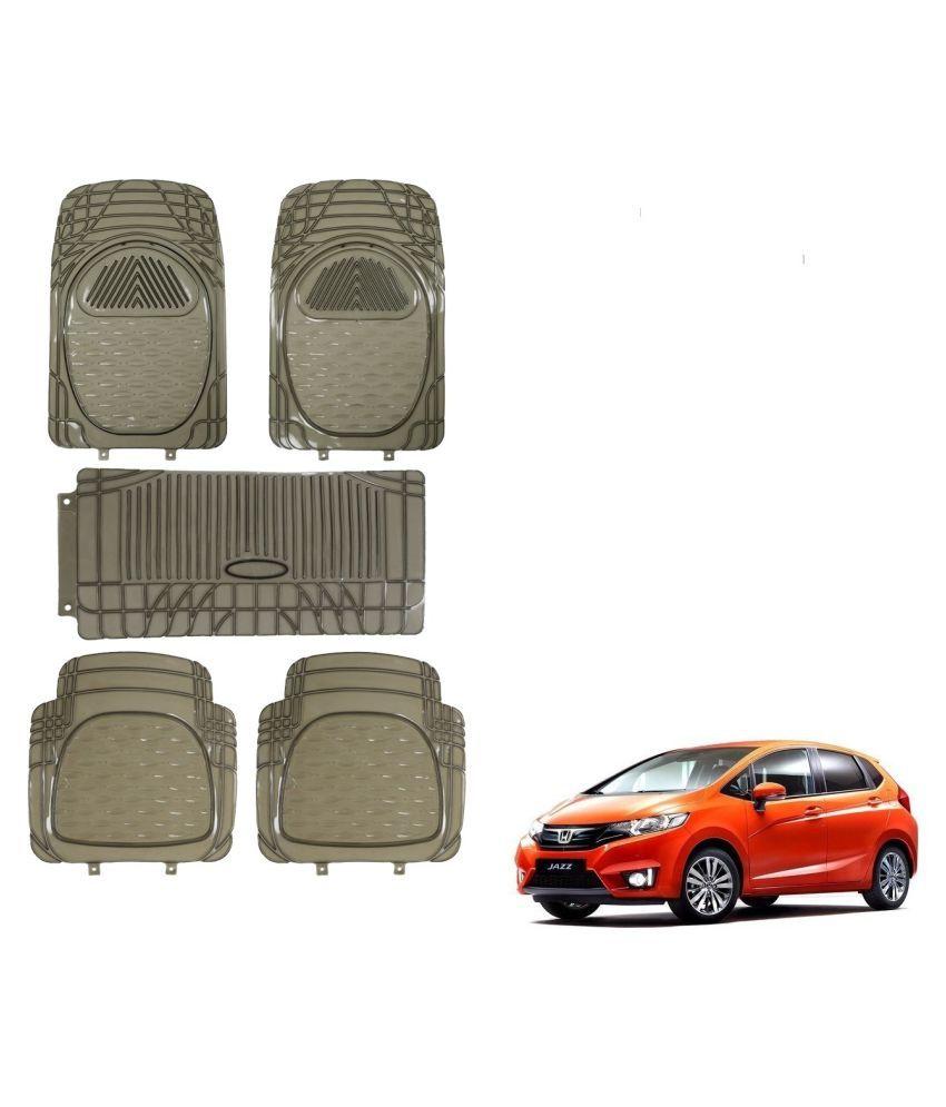 Auto Addict Car Rubber PVC Car Mat 6205 Foot Mats Smoke Color Set of 5 pcs For Honda New Jazz