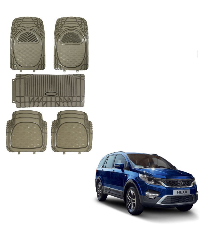 Auto Addict Car Rubber PVC Car Mat 6205 Foot Mats Smoke Color Set of 5 pcs For Tata Hexa