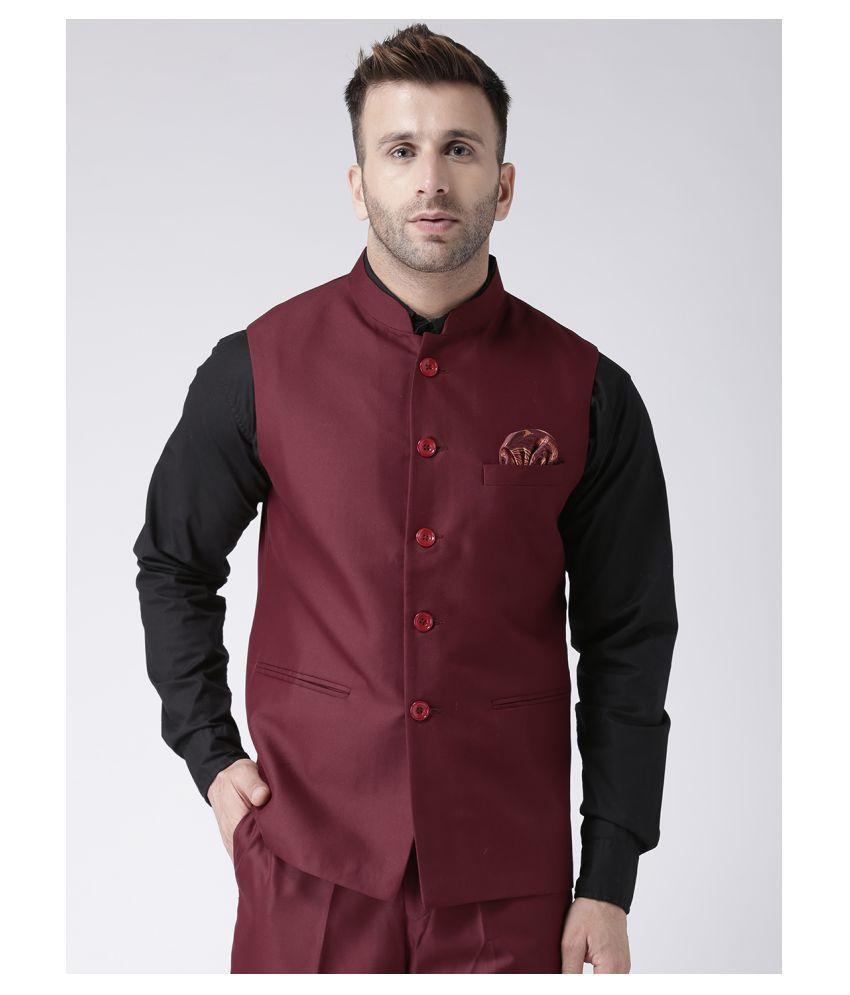 Hangup Maroon Polyester Blend Nehru Jacket