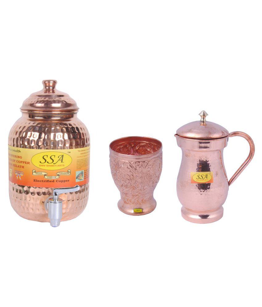 Shiv Shakti Arts Copper Drinkware Set 3 Pcs Jug and Glass Combo