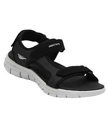 Red Tape Black Synthetic Floater Sandals
