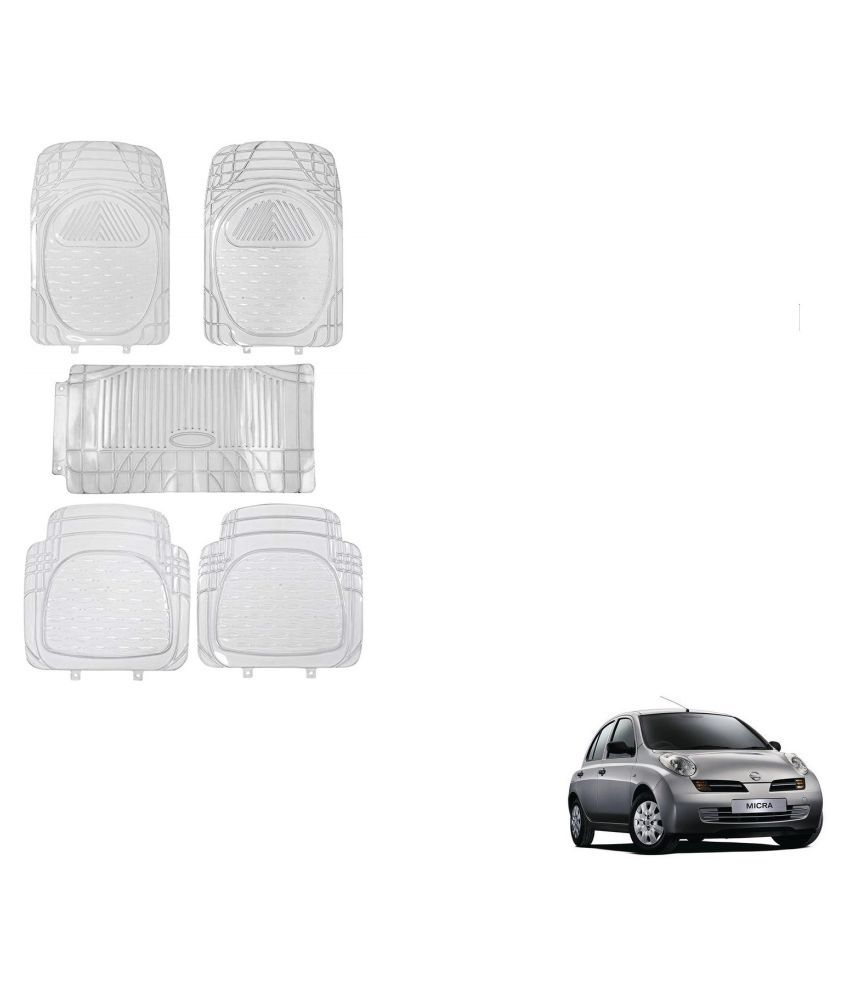 Auto Addict Car Rubber PVC Car Mat 6205 Foot Mats Clear Color Set of 5 pcs For Nissan Micra