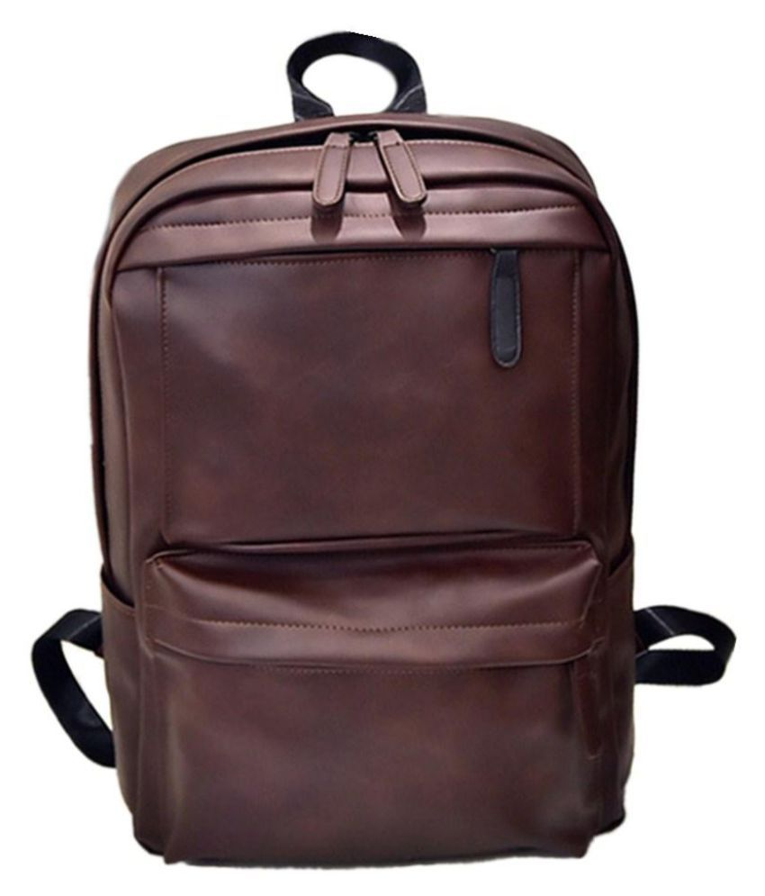 Men Leather Large Backpack Travel Satchel Laptop Rucksack Shoulder School Bag