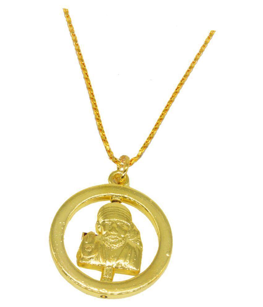 Shiv Jagdamba  Religious Jewelry Rotational Lord Sai Baba Locket With Chain Gold-plated Brass Pendant