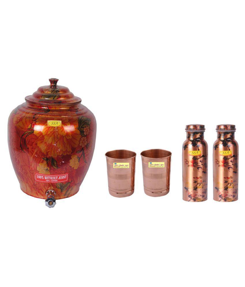 Shiv Shakti Arts Copper Drinkware Pot 5 Pcs Lemon set