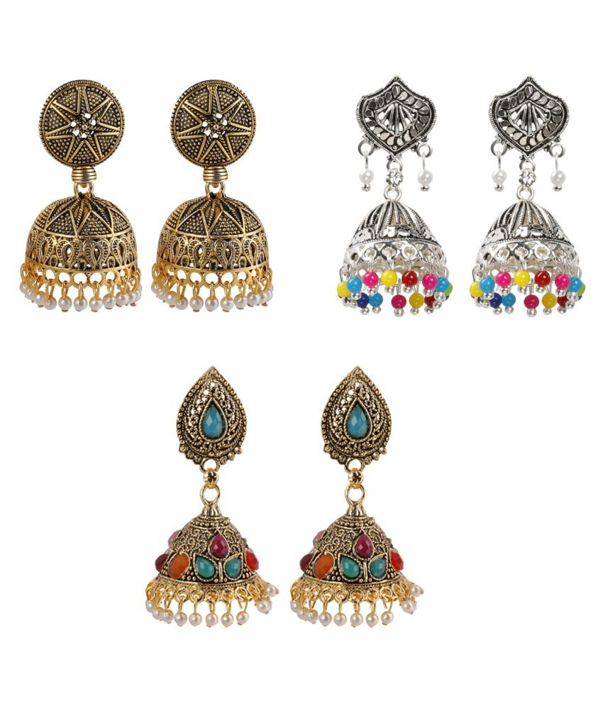 Silver Shine Party Wear Traditional Designer Exclusive Jumkhi Earrings combo set Set Pair Of 3 for Girls and Women Jewellery