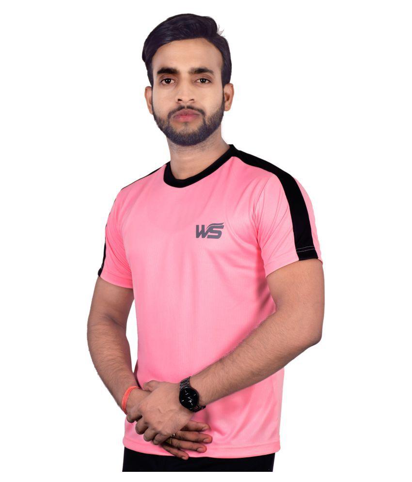 World Sports Men Pink Black Matching Printed Rapid Dry Fit Dot Net Round Neck - Active wear, Sports wear & Gym wear T-Shirt