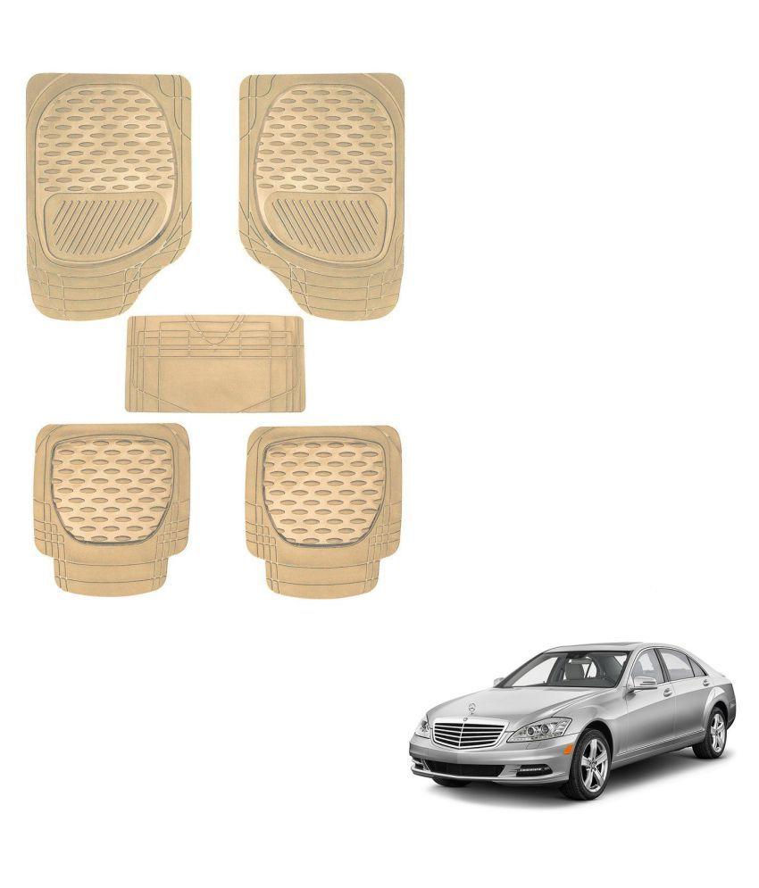 Auto Addict Car 6255 TW Rubber PVC Heavy Mats Beige Color Set Of 5 Pcs For Mercedes Benz S-Class