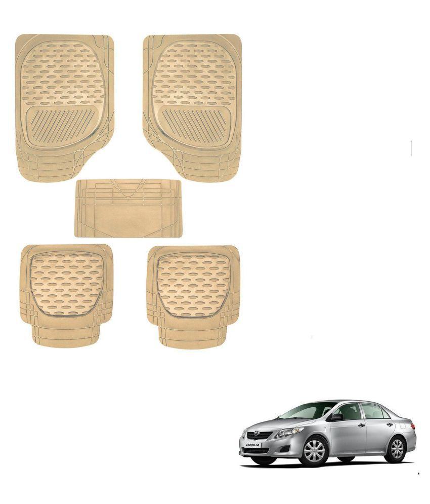 Auto Addict Car 6255 TW Rubber PVC Heavy Mats Beige Color Set Of 5 Pcs For Toyota Corolla