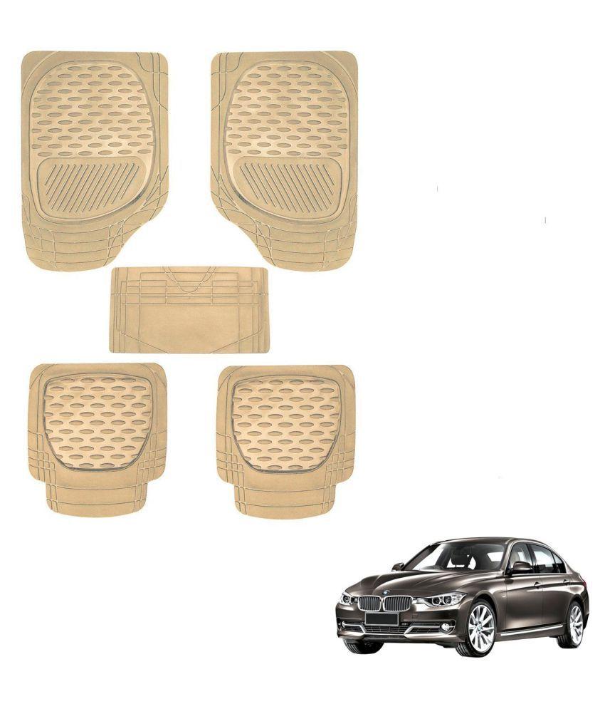 Auto Addict Car 6255 TW Rubber PVC Heavy Mats Beige Color Set Of 5 Pcs For BMW 3 Series