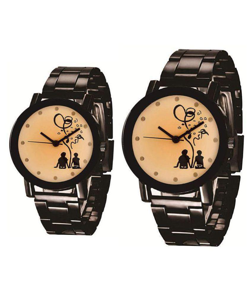 Devani trading metal beige couple watch