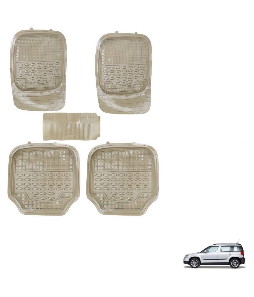 Auto Addict Car 4G Beige Rubber PVC Heavy Mats Set Of 5 Pcs For Skoda Yeti