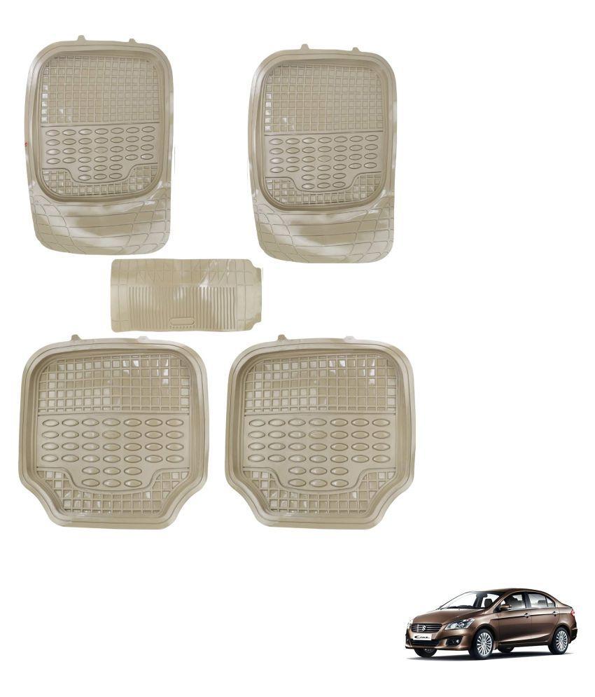 Auto Addict Car 4G Beige Rubber PVC Heavy Mats Set Of 5 Pcs For Maruti Suzuki Ciaz