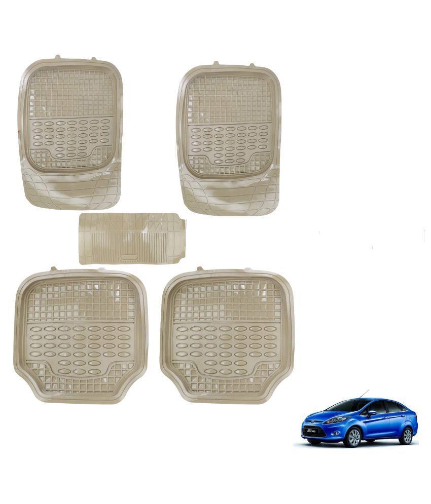 Auto Addict Car 4G Beige Rubber PVC Heavy Mats Set Of 5 Pcs For Ford Fiesta