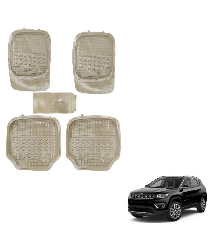 Auto Addict Car 4G Beige Rubber PVC Heavy Mats Set Of 5 Pcs For Jeep Compass