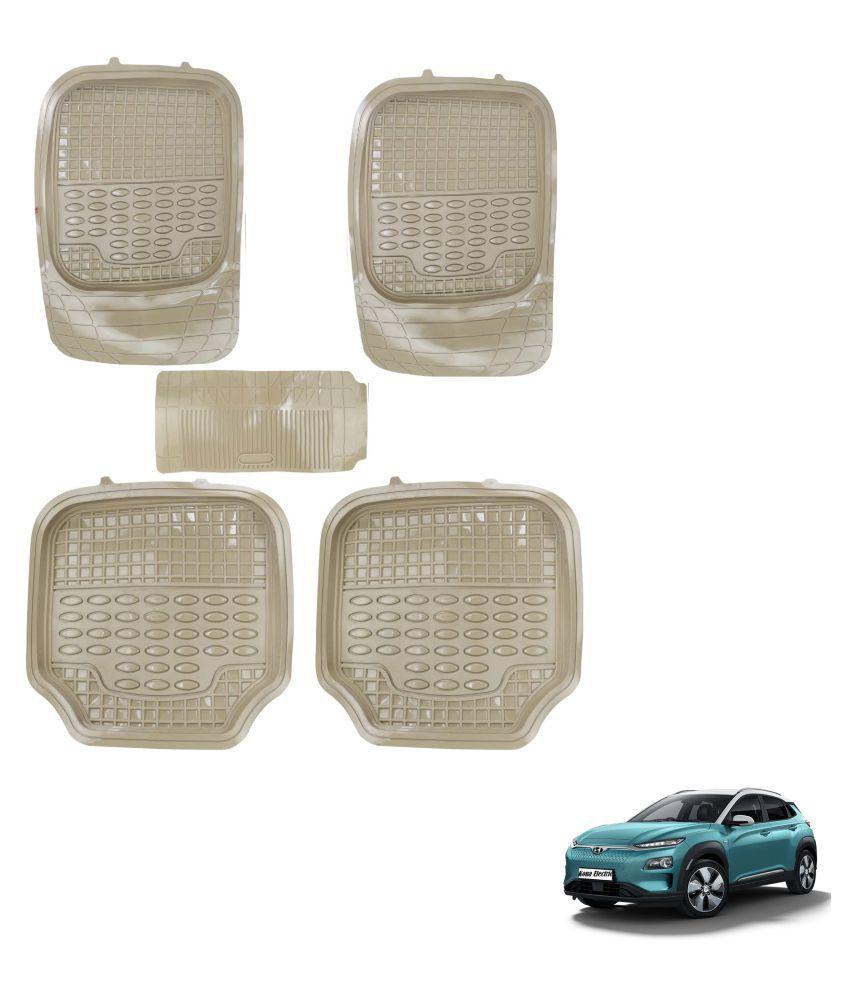 Auto Addict Car 4G Beige Rubber PVC Heavy Mats Set Of 5 Pcs For Hyundai Kona Electric