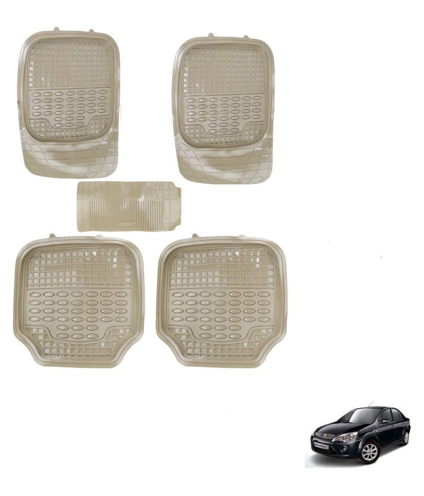 Auto Addict Car 4G Beige Rubber PVC Heavy Mats Set Of 5 Pcs For Ford Fiesta Classic