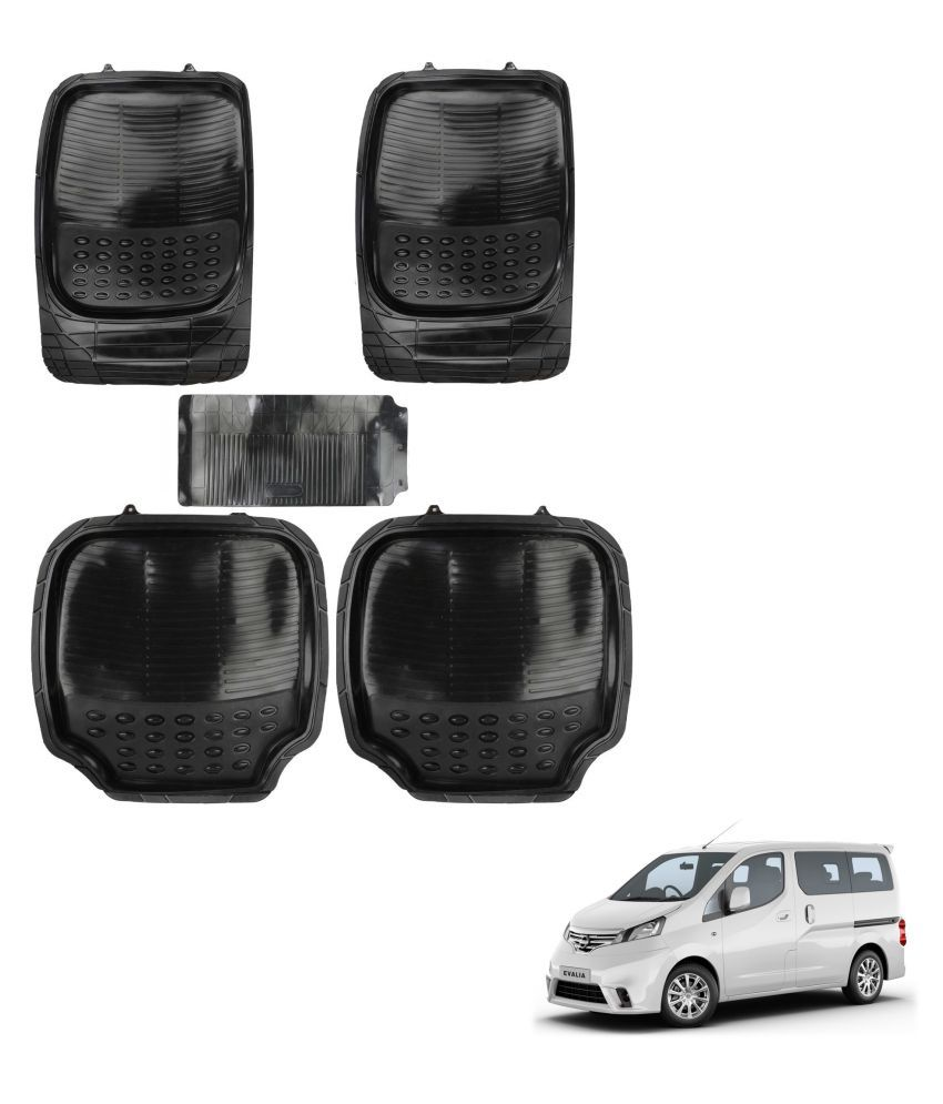 Auto Addict Car 4G Black Rubber PVC Heavy Mats Set Of 5 Pcs For Nissan Evalia