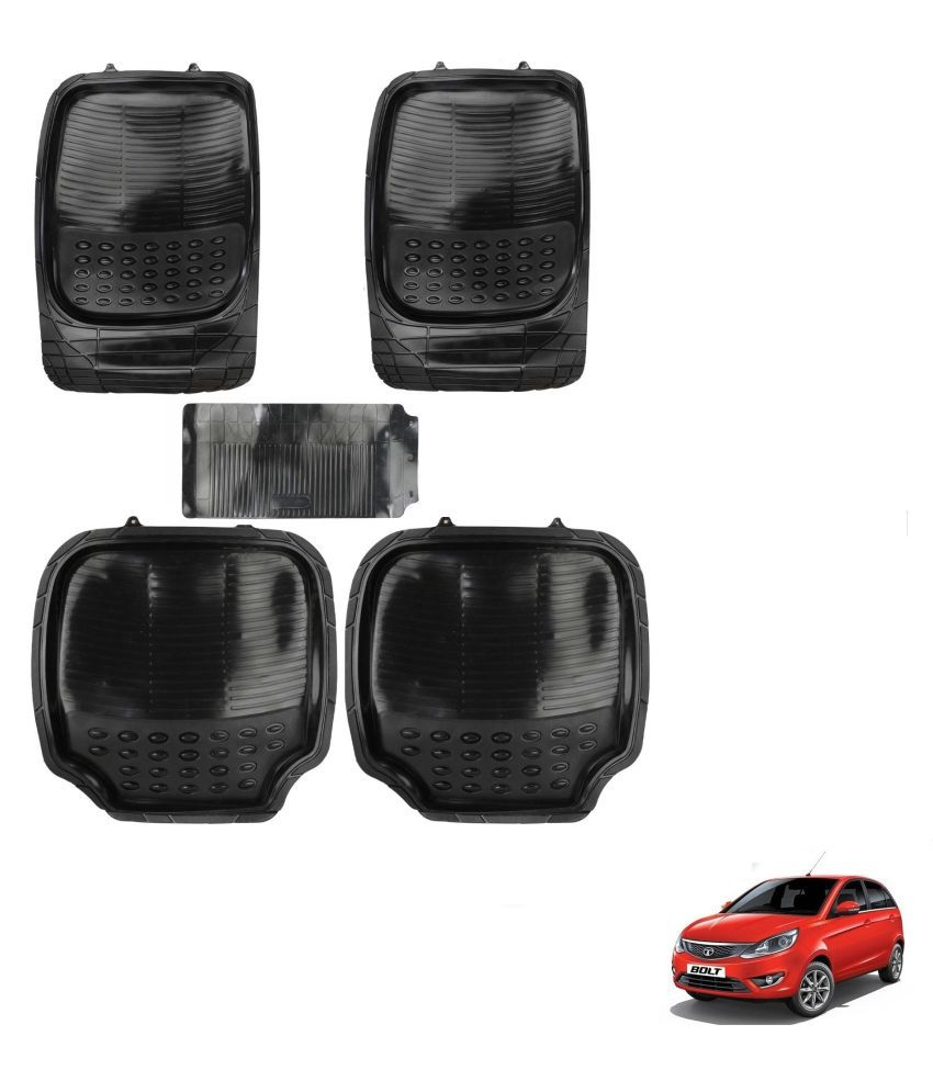 Auto Addict Car 4G Black Rubber PVC Heavy Mats Set Of 5 Pcs For Tata Bolt