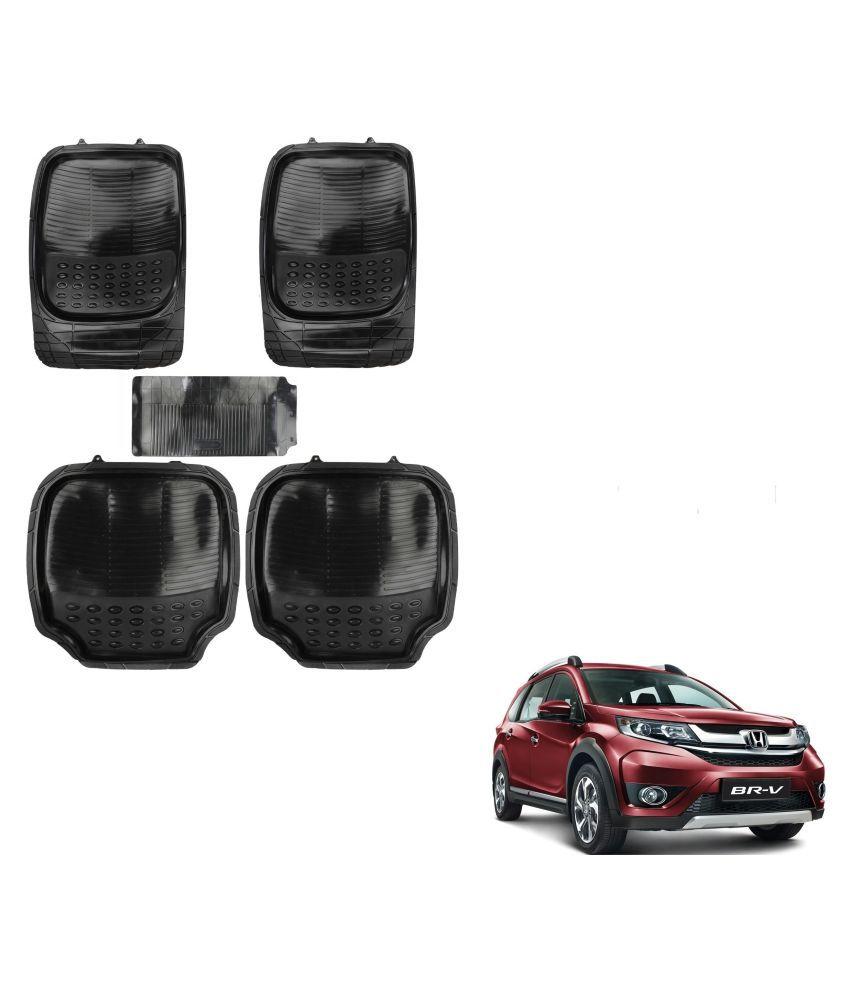 Auto Addict Car 4G Black Rubber PVC Heavy Mats Set Of 5 Pcs For Honda BRV