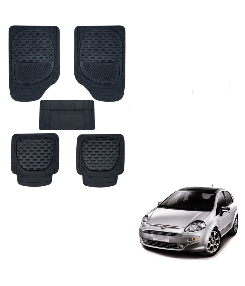 Auto Addict Car 6255 TW Rubber PVC Heavy Mats Black Color Set Of 5 Pcs For Fiat Punto Evo