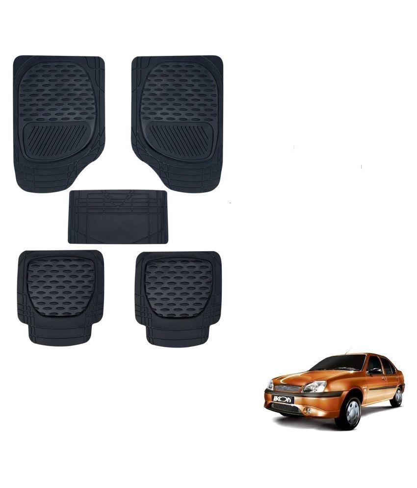 Auto Addict Car 6255 TW Rubber PVC Heavy Mats Black Color Set Of 5 Pcs For Ford Ikon