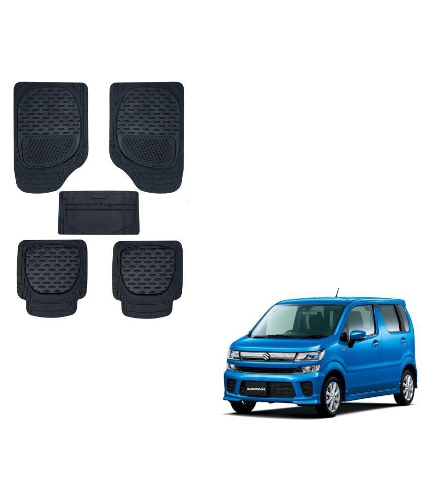 Auto Addict Car 6255 TW Rubber PVC Heavy Mats Black Color Set Of 5 Pcs For Maruti Suzuki New WagonR 2019