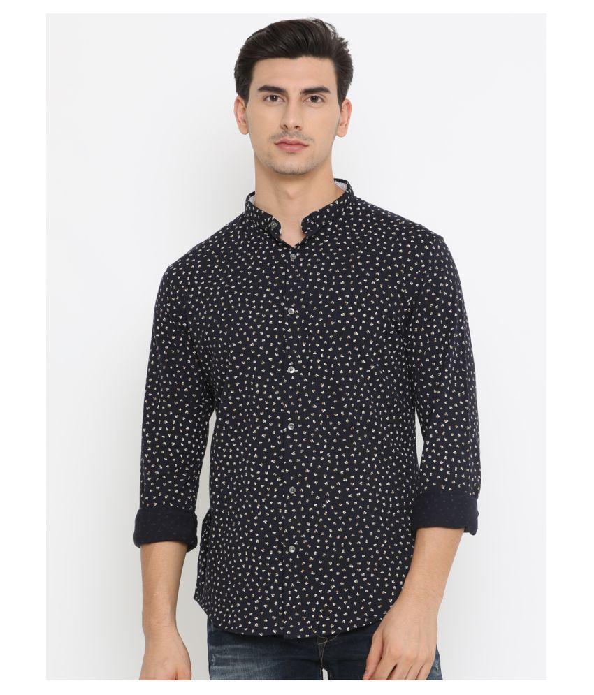 Showoff 100 Percent Cotton Navy Prints Shirt