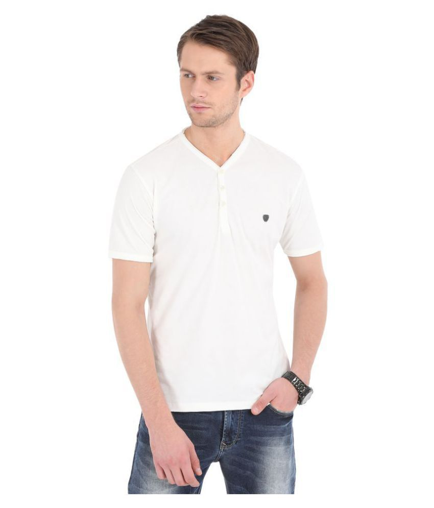 John Players 100 Percent Cotton White Solids T-Shirt