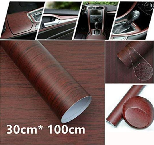 1Pc 30x100cm DIY Generic Wood Grain Textured Vinyl Wrap Sticker Decal Sheet  For Car Interior Decoration - Best Suits In Center Console l Dashboard l
