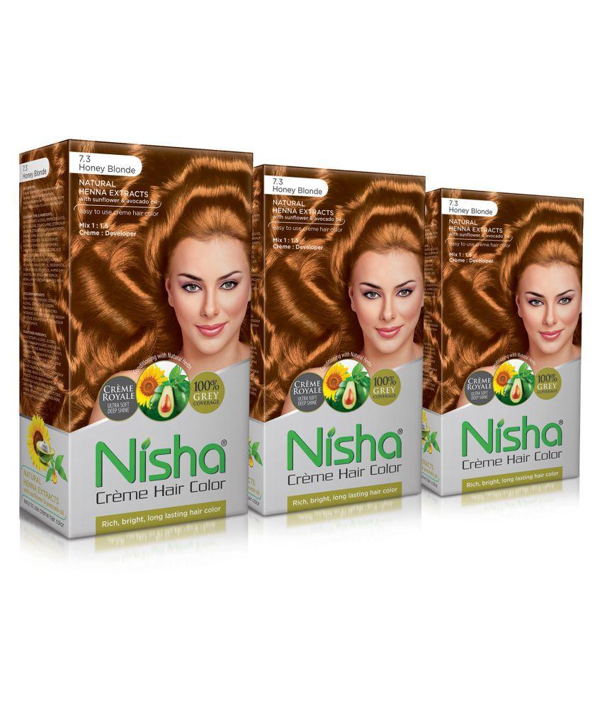 Nisha Honey Blonde 7.3 (60gm, 60ml, 12ml) Cream Permanent Hair Color Blonde Honey Blonde 7.3 120 mL Pack of 3